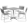 27.5'' Square Aluminum Indoor-Outdoor Table with 4 Silver Metal Stack Chairs