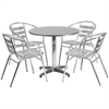 Flash Furniture 31.5'' Round Aluminum Indoor-Outdoor Table with 4 Slat Back Chairs