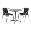 Flash Furniture 31.5'' Round Aluminum Indoor-Outdoor Table with 2 Black Rattan Chairs