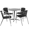 31.5'' Round Aluminum Indoor-Outdoor Table with 4 Black Rattan Chairs