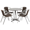 31.5'' Round Aluminum Indoor-Outdoor Table with 4 Dark Brown Rattan Chairs