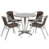 31.5'' Round Aluminum Indoor-Outdoor Table with 4 Dark Brown Rattan Chairs