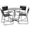 Flash Furniture 31.5'' Round Aluminum Indoor-Outdoor Table with 4 Black Metal Stack Chairs