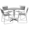Flash Furniture 31.5'' Round Aluminum Indoor-Outdoor Table with 4 Silver Metal Stack Chairs