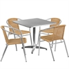 Flash Furniture 31.5'' Square Aluminum Indoor-Outdoor Table with 4 Beige Rattan Chairs