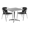 Flash Furniture 31.5'' Square Aluminum Indoor-Outdoor Table with 2 Black Rattan Chairs