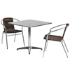 Flash Furniture 31.5'' Square Aluminum Indoor-Outdoor Table with 2 Dark Brown Rattan Chairs