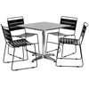 31.5'' Square Aluminum Indoor-Outdoor Table with 4 Black Metal Stack Chairs