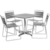 31.5'' Square Aluminum Indoor-Outdoor Table with 4 Silver Metal Stack Chairs