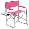 Aluminum Folding Camping Chair with Table and Drink Holder in Pink