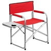 Flash Furniture Aluminum Folding Camping Chair with Table and Drink Holder in Red