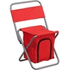 Flash Furniture Folding Camping Chair with Insulated Storage in Red