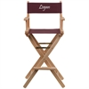 Personalized Bar Height Directors Chair in Brown