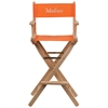 Flash Furniture Personalized Bar Height Directors Chair in Orange