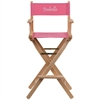 Flash Furniture Personalized Bar Height Directors Chair in Pink