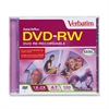 Verbatim DVD-RW Disc, 4.7GB, 2x, w/Jewel Case, Matte Silver