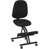 Mobile Ergonomic Kneeling Posture Chair with Back in Black Fabric
