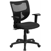 Galaxy Mid-Back Black Mesh Designer Back Swivel Task Chair with Padded Fabric Padded Seat and Adjustable Height Arms