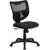 Galaxy Mid-Back Black Mesh Designer Back Swivel Task Chair with Fabric Padded Seat