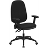 Flash Furniture High Back Black Fabric Multi-Functional Swivel Task Chair with Height Adjustable Arms