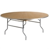 Flash Furniture 72'' Round HEAVY DUTY Birchwood Folding Banquet Table with METAL Edges