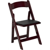 Flash Furniture HERCULES Series Mahogany Wood Folding Chair with Vinyl Padded Seat