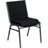 HERCULES Series Heavy Duty, 3'' Thickly Padded, Black Patterned Upholstered Stack Chair with Ganging Bracket
