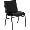 HERCULES Series Heavy Duty, 3'' Thickly Padded, Black Vinyl Upholstered Stack Chair with Ganging Bracket