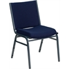 HERCULES Series Heavy Duty, 3'' Thickly Padded, Navy Blue Patterned Upholstered Stack Chair with Ganging Bracket