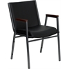 Flash Furniture HERCULES Series Heavy Duty, 3'' Thickly Padded, Black Vinyl Upholstered Stack Chair with Arms and Ganging Bracket