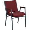 HERCULES Series Heavy Duty, 3'' Thickly Padded, Burgundy Patterned Upholstered Stack Chair with Arms and Ganging Bracket