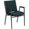 HERCULES Series Heavy Duty, 3'' Thickly Padded, Green Patterned Upholstered Stack Chair with Arms and Ganging Bracket