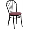 HERCULES Series Fan Back Metal Chair - Burgundy Vinyl Seat