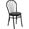 Flash Furniture HERCULES Series Fan Back Metal Chair - Black Vinyl Seat