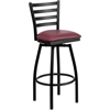 Flash Furniture HERCULES Series Black Ladder Back Swivel Metal Barstool - Burgundy Vinyl Seat