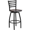 Flash Furniture HERCULES Series Black Ladder Back Swivel Metal Barstool - Walnut Wood Seat
