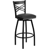 HERCULES Series Black ''X'' Back Swivel Metal Barstool - Black Vinyl Seat