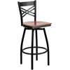 Flash Furniture HERCULES Series Black ''X'' Back Swivel Metal Barstool - Cherry Wood Seat