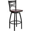 Flash Furniture HERCULES Series Black ''X'' Back Swivel Metal Barstool - Mahogany Wood Seat