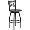 Flash Furniture HERCULES Series Black ''X'' Back Swivel Metal Barstool - Walnut Wood Seat