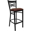 Flash Furniture HERCULES Series Black ''X'' Back Metal Restaurant Barstool - Burgundy Vinyl Seat