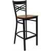 Flash Furniture HERCULES Series Black ''X'' Back Metal Restaurant Barstool - Cherry Wood Seat