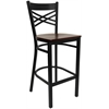 Flash Furniture HERCULES Series Black ''X'' Back Metal Restaurant Barstool - Mahogany Wood Seat