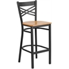 HERCULES Series Black ''X'' Back Metal Restaurant Barstool - Natural Wood Seat