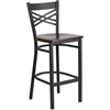 Flash Furniture HERCULES Series Black ''X'' Back Metal Restaurant Barstool - Walnut Wood Seat