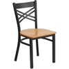Flash Furniture HERCULES Series Black ''X'' Back Metal Restaurant Chair - Natural Wood Seat