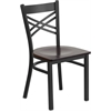 Flash Furniture HERCULES Series Black ''X'' Back Metal Restaurant Chair - Walnut Wood Seat