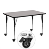 Mobile 24''W x 48''L Rectangular Activity Table with 1.25'' Thick High Pressure Grey Laminate Top and Standard Height Adjustable Legs