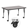 Mobile 24''W x 48''L Rectangular Activity Table with 1.25'' Thick High Pressure Grey Laminate Top and Height Adjustable Preschool Legs