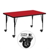 Mobile 24''W x 48''L Rectangular Activity Table with 1.25'' Thick High Pressure Red Laminate Top and Height Adjustable Preschool Legs